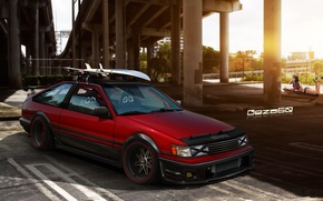 Picture girl, bridge, Parking, Toyota Corolla AE86