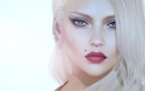 Picture girl, face, portrait, blonde, mole