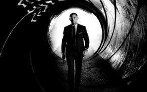 Wallpaper is, skyfall, skyfall, James Bond, Daniel Craig, the film, saver, James Bond, black and white