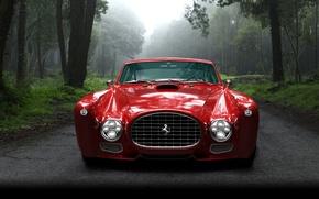 Picture car, forest, red, retro, Ferrari, forest, road, trees, Ferrari, mist, veh