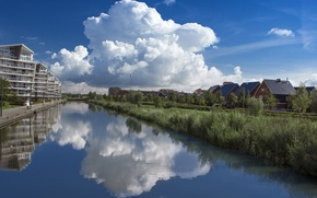 Picture the sky, clouds, reflection, nature, river, Netherlands, river, nature, clouds, Nederland, Oosterheem