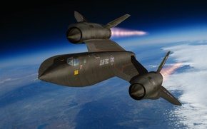 Picture the sky, flight, earth, figure, scout, strategic, UNITED STATES AIR FORCE, Lockheed SR-71, supersonic, «Blackbird», ...