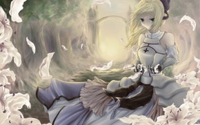 Picture forest, girl, trees, flowers, Lily, petals, arch, bow, fate stay night, saber lily, fate zero