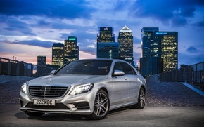 Picture the city, lights, Mercedes-Benz, 2014, BlueTEC, S300 W222, metallic silver