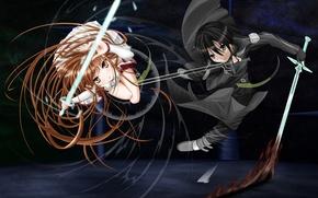 Wallpaper girl, weapons, sword, male, Anime, battle, cloak, long hair, short hair, high resolution, brown eyes, ...