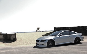Picture beach, the sky, bmw, BMW, shadow, silver, e63, silvery, black rims