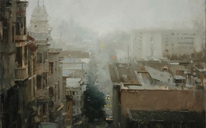 Picture road, the city, fog, street, Windows, home, the evening, roof, strokes, gloomy, Hsin-Yao Tseng