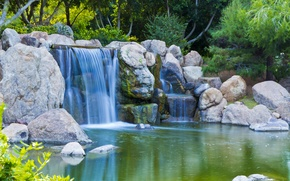 Picture water, pond, stones, garden, Nature, water, garden, pond
