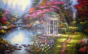Picture flowers, picture, river, painting, gazebo, path, Thomas Kinkade, The Garden of Prayer