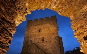 Picture night, lights, tower, Wales, castle Dolwyddelan