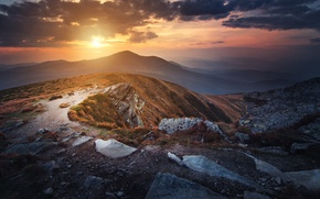 Wallpaper mountains, Goverla, Ukraine, clouds, the sun, the sky, grass, Carpathians, stones, top