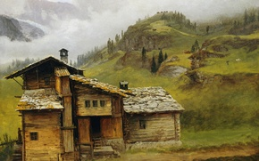 Picture landscape, picture, Albert Bierstadt, House in the Mountains
