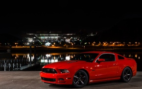 Picture Mustang, Ford, Light, Red, Front, Night