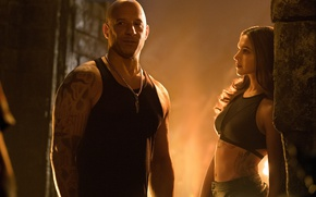 Picture cinema, girl, wall, rock, woman, sun, man, movie, tatoo, Vin Diesel, hero, film, Mark Sinclair …