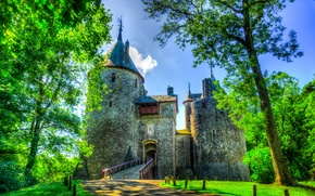 Wallpaper greens, grass, trees, bridge, castle, hdr, track, UK, South Wales, Castell Coch