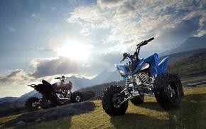 Wallpaper the sun, ATV 26, motorcycles, Yamaha, mountains