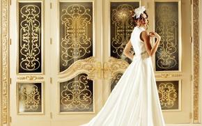 Picture girl, model, white dress