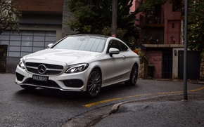 Picture machine, lights, Mercedes-Benz, the hood, front view, Coupe, C 300, AMG line