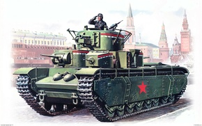 Picture figure, Red, area, tank, Moscow, parade, the mausoleum, Soviet, heavy, T-35
