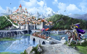 Picture forest, mountains, bridge, city, the city, lake, castle, horses, fantasy, the middle ages, knights, bridge, ...