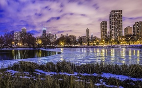 Picture winter, water, clouds, lights, lake, ice, skyscrapers, the evening, America, Chicago, USA, Il