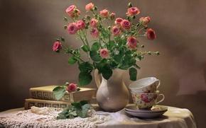 Wallpaper still life, books, Cup, roses, bouquet