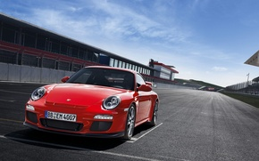 Wallpaper red, start, sports car, salon, asphalt, porsche 911 GT3, track