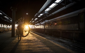 Picture sunset, street, train, railroad, sunshine, street, red bull, mtb, ride, Tom Oehler, manual