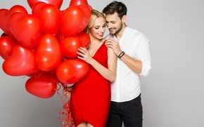 Picture Girl, Heart, Two, Male, A Balloon, Love The Dress