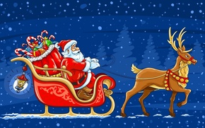 Picture snow, deer, New Year, gifts, sleigh, Santa Claus