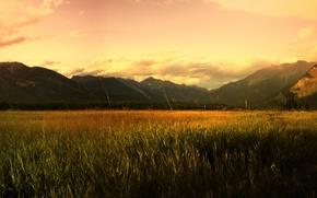 Wallpaper sunrise, field, mountains