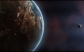 Picture stars, planet, shadows, Sci Fi