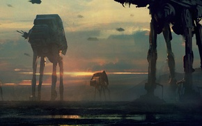 Picture robots, star wars, art, imperial walkers