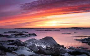 Picture sea, the sky, clouds, snow, sunset, stones, shore, the evening, Sweden