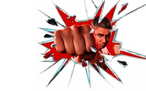 Picture glass, fragments, blow, white background, fist, Denis Nikiforov, Shadow Boxing