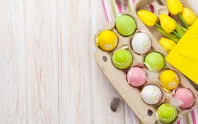 Picture flowers, eggs, Easter, tulips, wood, flowers, tulips, spring, Easter, eggs