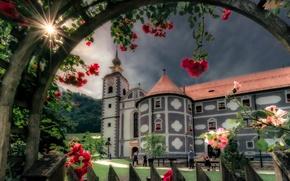 Wallpaper flowers, roses, the monastery, Slovenia, Slovenia, Olimje, Olimje, Olimje Monastery