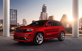 Picture red, city, the city, building, Jeep, red, srt, grand cherokee, building, Jeep