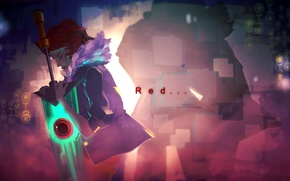 Picture girl, sword, art, Red, Transistor