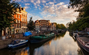 Picture the sky, water, the city, river, building, home, boats, the evening, Amsterdam, channel, Netherlands, Amsterdam, …