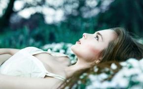 Picture girl, glade, earrings, dress, Alexander Salihovic, blush