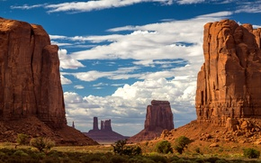 Picture the sky, clouds, rocks, mountain, USA, monument valley