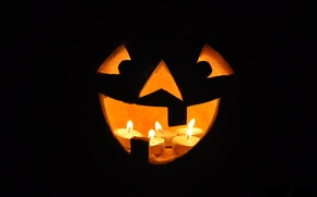 Picture smile, candles, Halloween, pumpkin