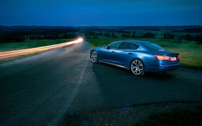 Picture auto, night, Maserati, Quattroporte, excerpt, Novitec