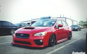 Picture turbo, red, subaru, japan, wrx, impreza, jdm, tuning, power, sti, low, stance