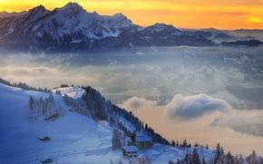Picture winter, snow, sunset, mountains, Switzerland, village, Switzerland