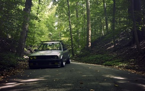 Picture road, forest, grey, BMW, BMW, grey, sedan, E30, The 3 series