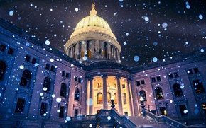 Picture winter, light, snowflakes, night, the city, the building, Wisconsin, lights, USA, USA, Capitol, bokeh, Wisconsin, …