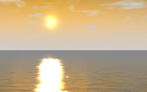 Picture sea, the sky, the sun, clouds, landscape, nature, reflection, horizon