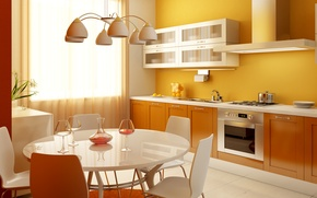 Picture flowers, glass, kitchen, chandelier, pitcher, table, tangerines, lockers